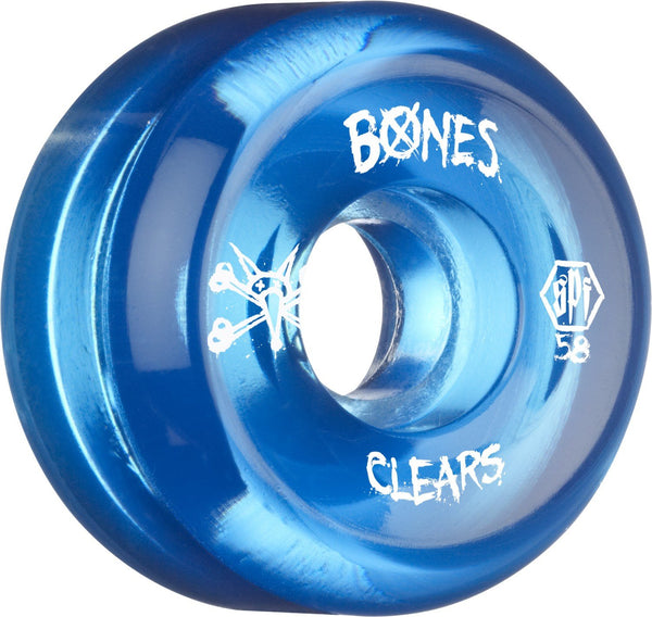RUEDAS/WHEELS BONES CLEAR BLUE 58MM