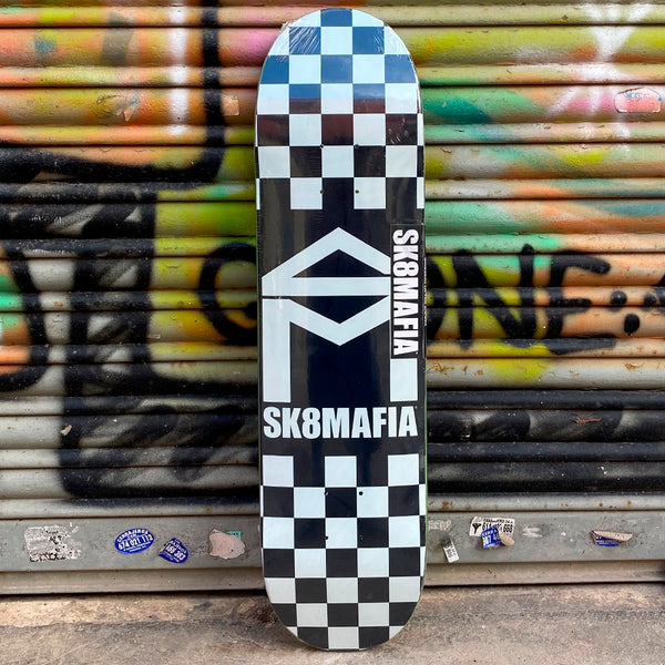 Skate Mafia House Logo Black Checker 8.0x32 Skateboard Deck Tabla Skate - Furtivo! Skateboarding