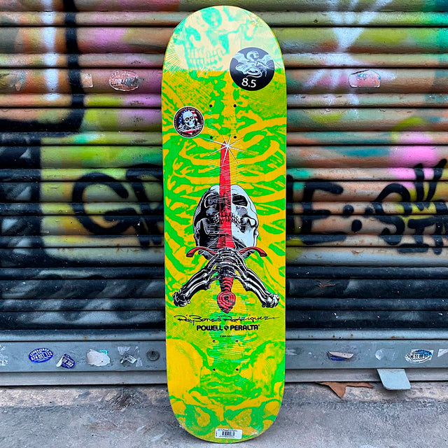 Powell Peralta Skull & Sword Yellow Green 8.5 X 32- Skateboard Deck- Tabla - Furtivo! Skateboarding