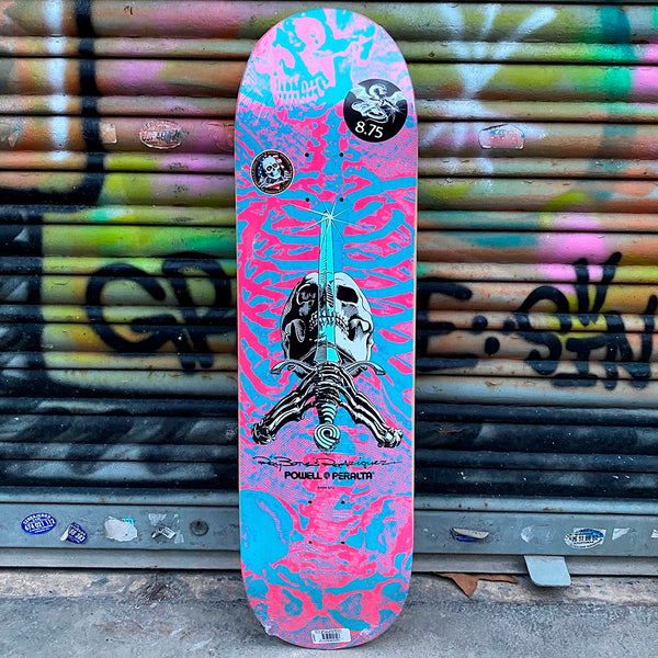 Powell Peralta Skull & Sword Pink Blue 8.75 X 32.95- Skateboard Deck- Tabla Tablas Powell Peralta