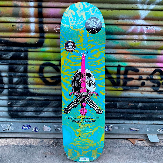 Powell Peralta Skull & Sword Blue Green 8.25 X 31.95 Skateboard Deck- Tabla - Furtivo! Skateboarding