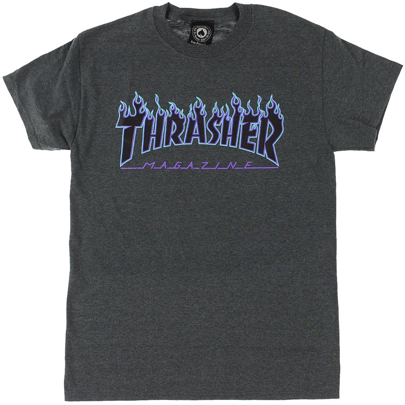 Thrasher Flame Logo Tee Dark Heather -Camiseta - Furtivo! Skateboarding