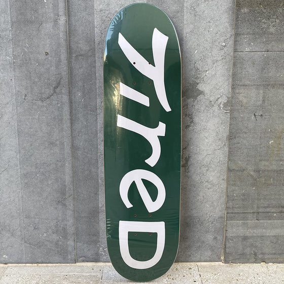 Tired Skateboards Logo Three on Joel 8.6 Skateboard Deck -Tabla Skate - Furtivo! Skateboarding