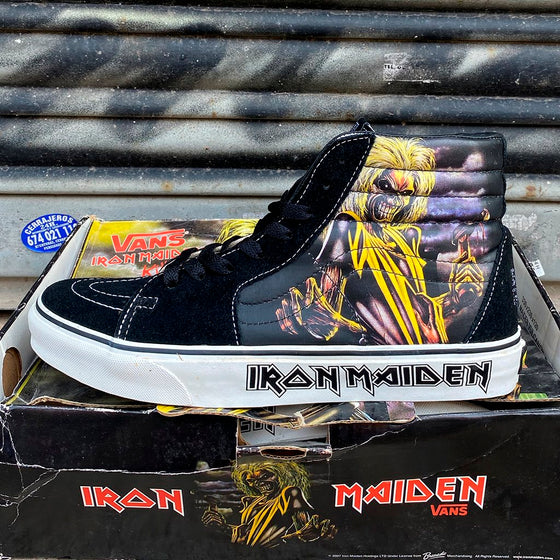Vans Sk8-Hi Iron Maiden Black Yellow Lemon Vintage Skate Shoe - Furtivo! Skateboarding