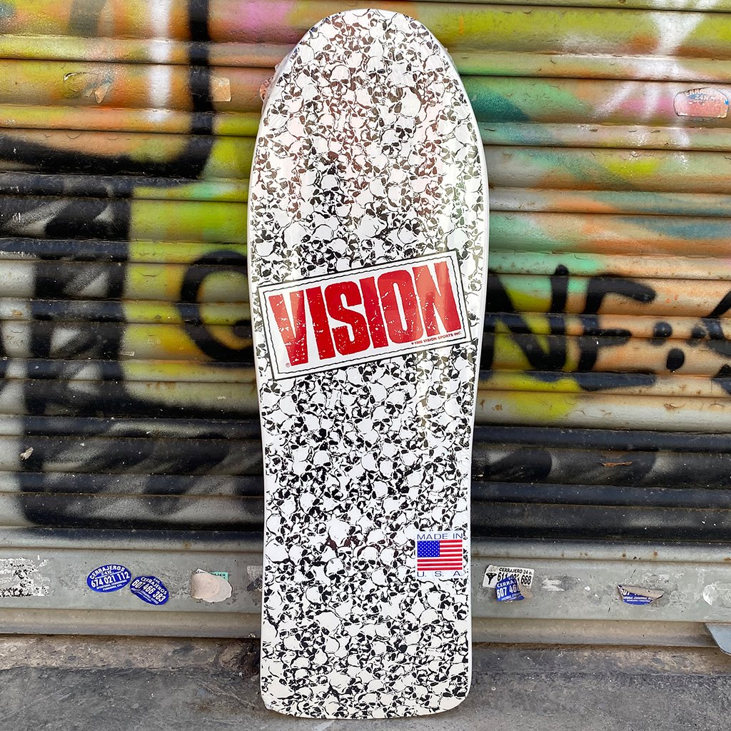 "Vision Punk Skull white Reissue Skateboard Deck 10""x30""-Tabla Tablas Vision Skateboards"