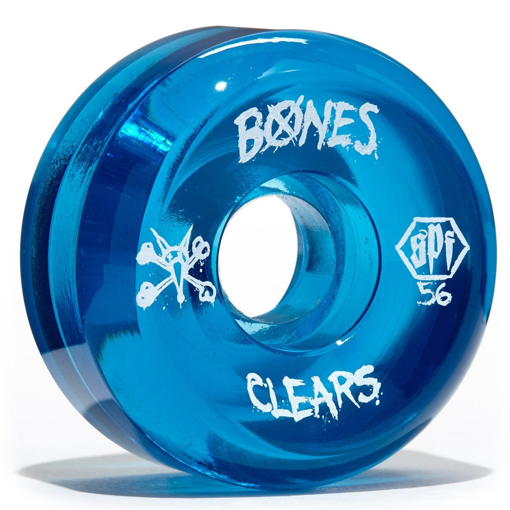 WHEELS BONES CLEAR BLUE 56MM