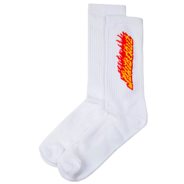 Santa Cruz Flaming Stripe White - Calcetines - Furtivo! Skateboarding