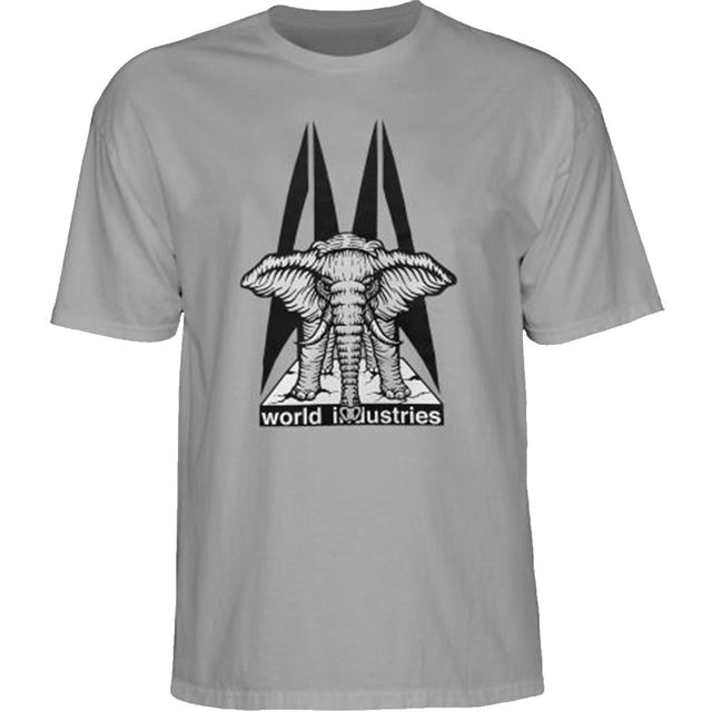 World Industries Elephant on the Edge Mike Vallely by Prime Wood T-Shirt Grey- Camiseta - Furtivo! Skateboarding