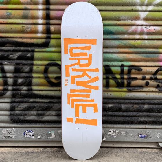 Lurkville Logo White/Orange 8.25 Skateboard Deck - Tabla Skate Tabla/Deck Lurkville