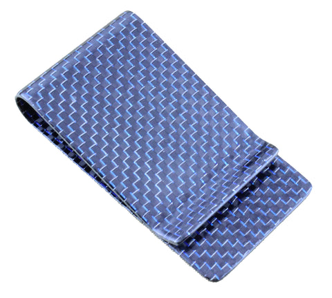 Carbon Fiber Kevlar RFID Blocking Money Clip Blue/Silver/Black
