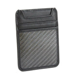 Leather and Carbon Fiber RFID Blocking Card Holder Wallet Black