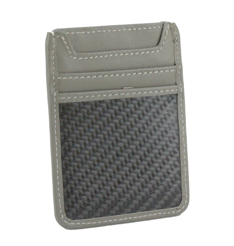 Leather and Carbon Fiber RFID Blocking Card Holder Wallet Gray