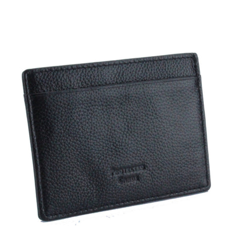 Pebble Leather RFID Blocking Card Holder Wallet Black