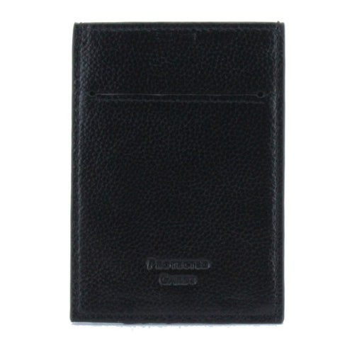Pebble Leather RFID Blocking Card Holder Wallet Money Clip Black