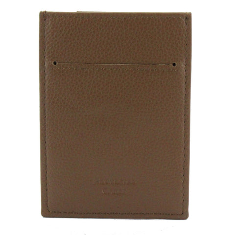 Pebble Leather RFID Blocking Card Holder Wallet Money Clip Camel