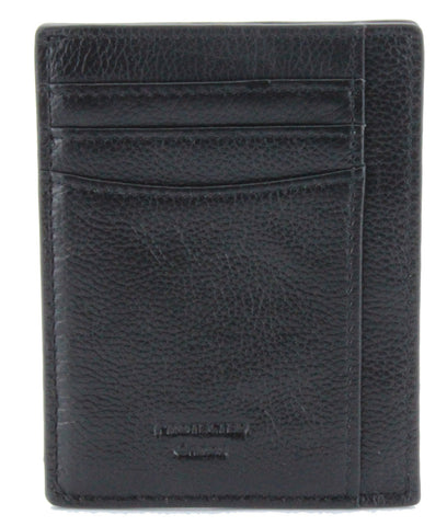 V Wallet ID Window Pebble Leather RFID Blocking Card Holder Black