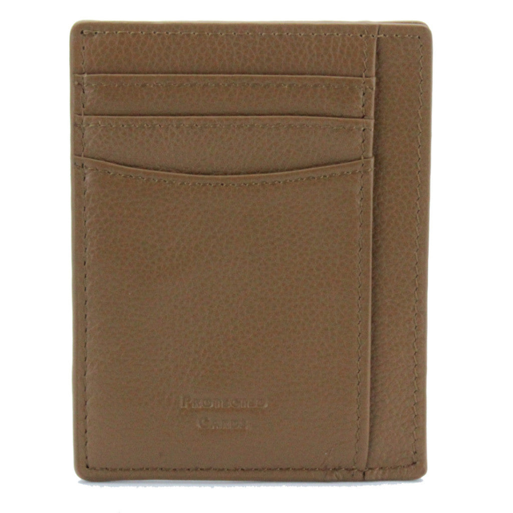 V Wallet ID Window Pebble Leather RFID Blocking Card Holder Camel