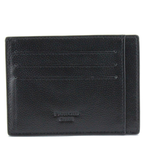 V Wallet Pebble Leather RFID Blocking Card Holder Black