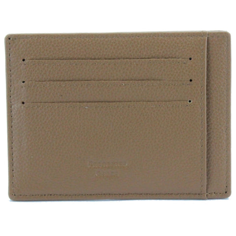 V Wallet Pebble Leather RFID Blocking Card Holder Camel