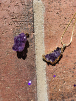 "Gold plated amethyst cluster pendant with 18"" chain."
