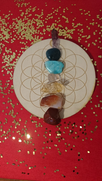 Included: Red Jasper, Carnelian, Rose Quartz, Amazonite and Blue Apatite from Madagascar, Honey Calcite and Amethyst point from Mexico and 6-inch birchwood crystal grid base engraved with Flower of Life