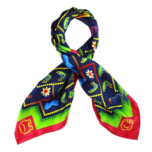 Walmsley and Cole, Frog Love, Silk Scarf, Tied