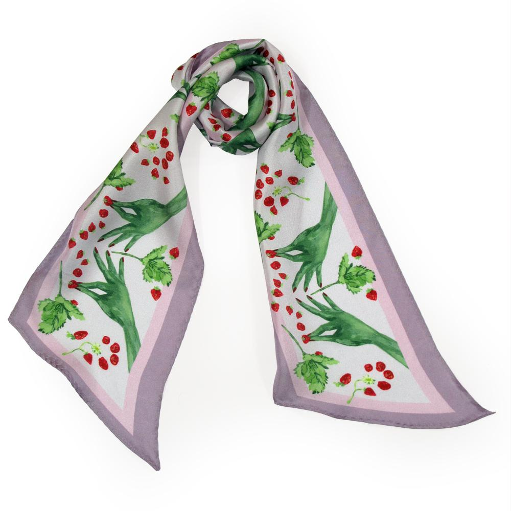 Walmsley and Cole, Green Fingers, Silk Scarf, Tied