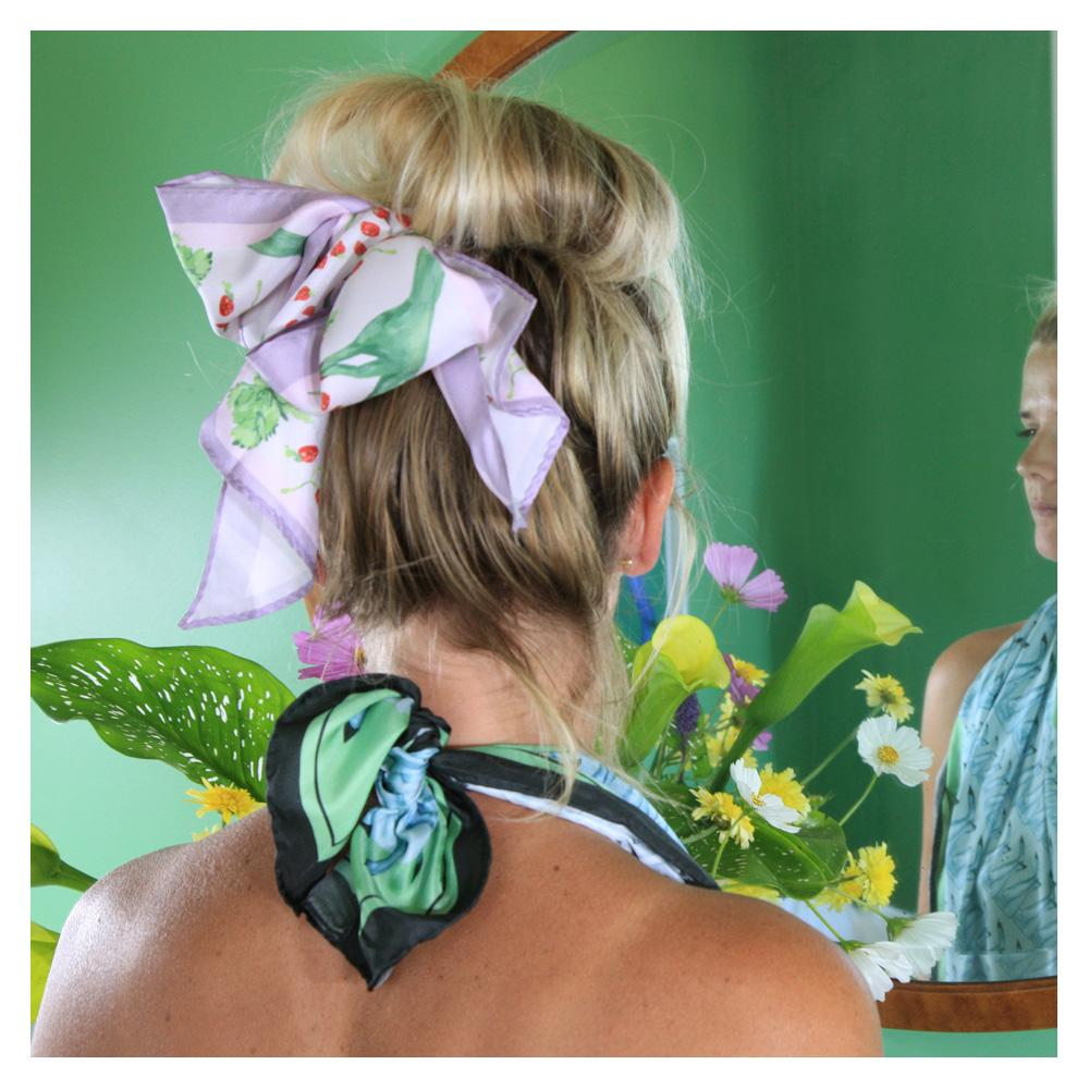 Walmsley and Cole, Green Fingers, Silk Scarf, Tied in hair