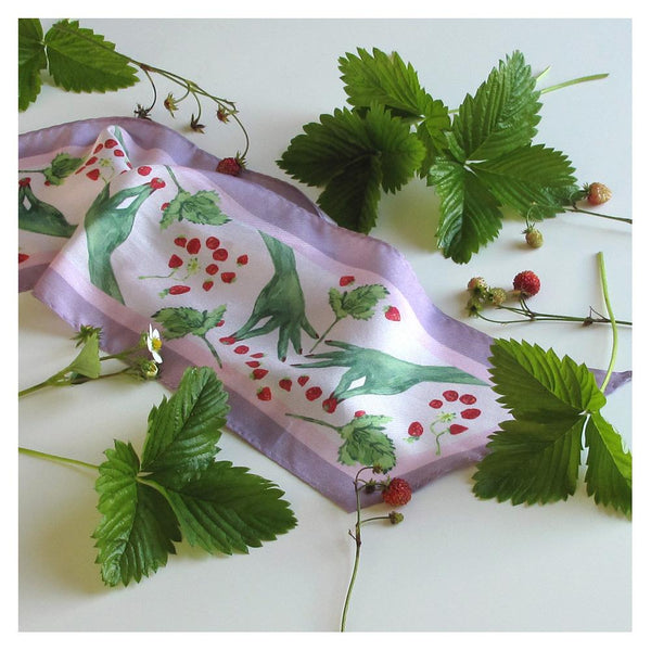 Walmsley and Cole, Green Fingers, Silk Scarf, Amongst strawberries