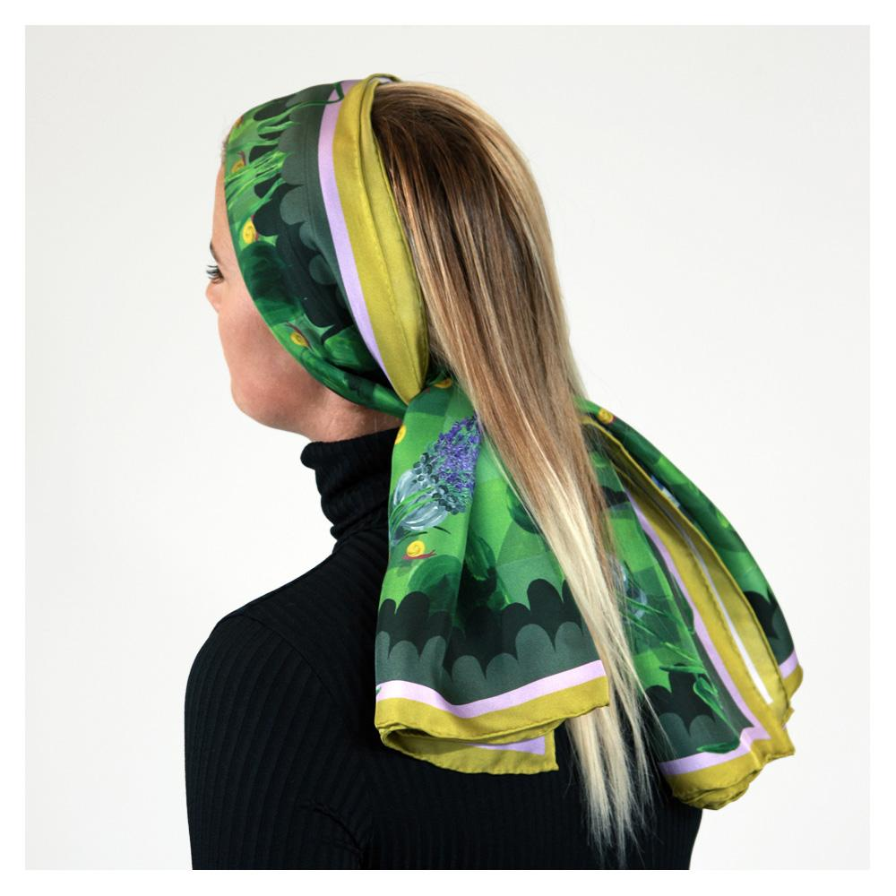 Walmsley and Cole, Moonlit Mystery Tour, Silk Scarf, Tied in hair