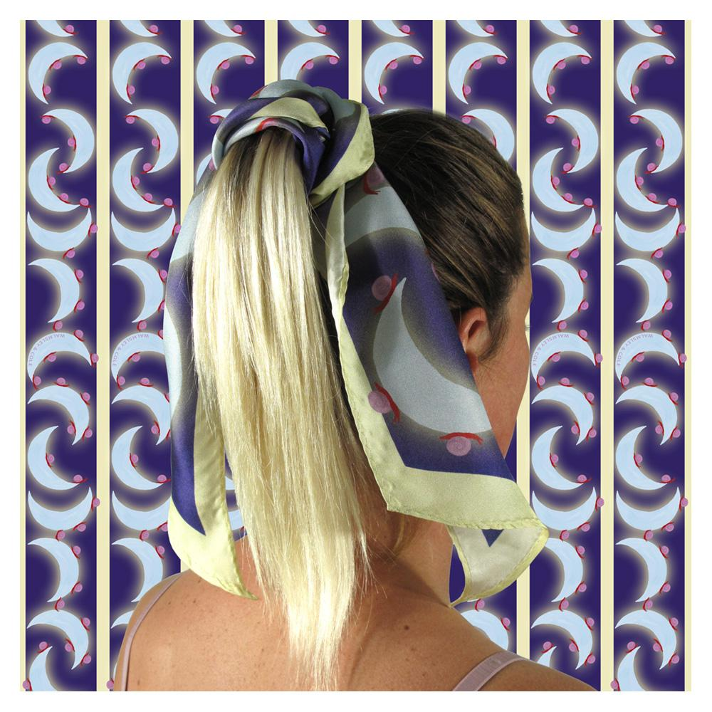 Walmsley and Cole, Snail Moon, Silk Scarf, Tied in hair