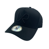 A-frame baseball cap, Black with camo under peak