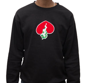 Got Heart Crew neck Sweater(BLACK/RED HEART)