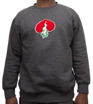 Got Heart Crew neck Sweater(CHARCOAL/RED HEART)
