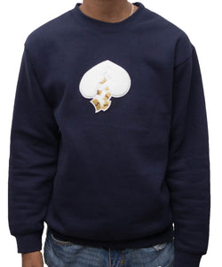 Got Heart Crew neck Sweater(NAVY/WHITE HEART)