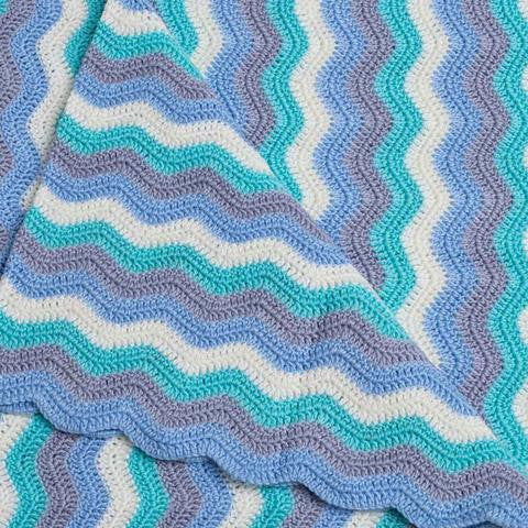 crochet ripple blue jay blanket
