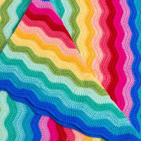 crochet ripple rainbow blanket