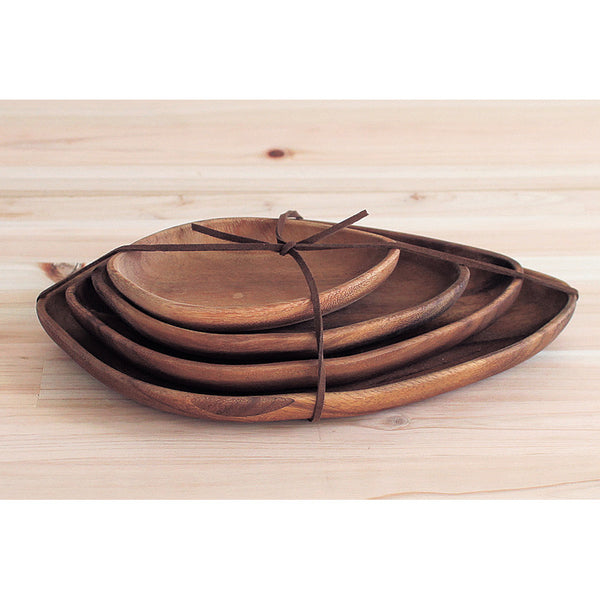Acacia Wood Leaf Plates - Set of 4
