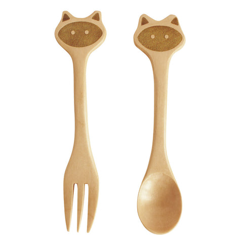 childrens wood utensils set - cat fork and spoon