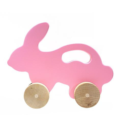 large {pink} bunny push toy