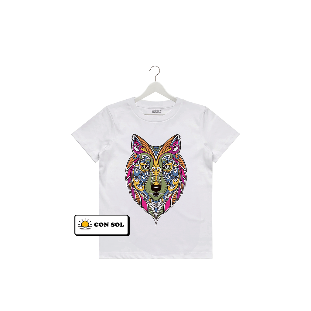 Playera que cambia de color Lobo Mandala - Kids