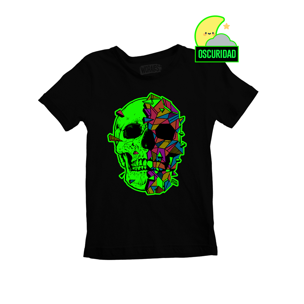 Playera que cambia de color Skull Negra - Kids