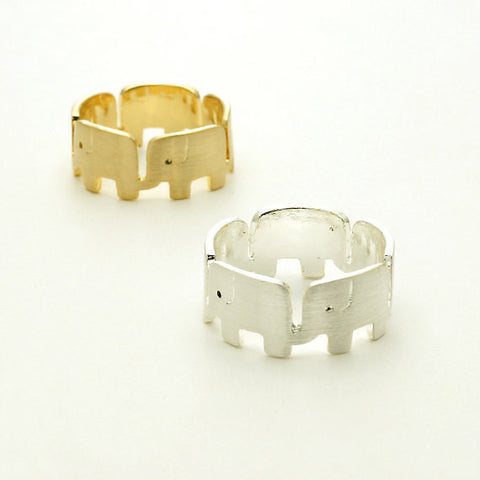 Silver or Gold Round Elephant Ring