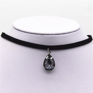 HOT Plain Black Velvet Ribbon Choker with Water Drop Pendant - Many Different Colors - Opertime