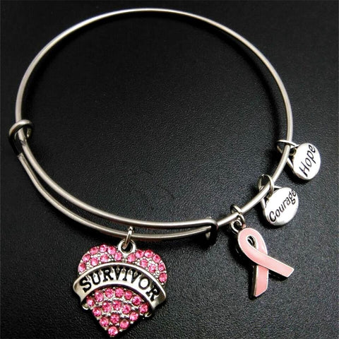 Pink Ribbon Breast Cancer Survivor Charm Braclete