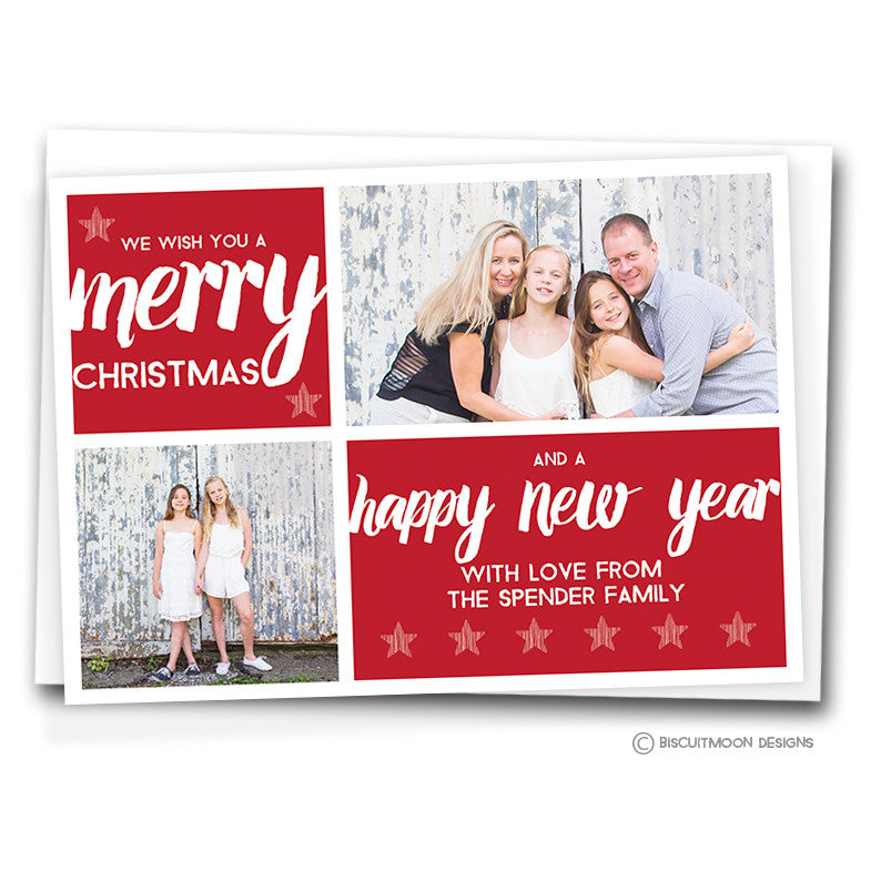 Simple Script & Stars Personalised Christmas Cards - Biscuitmoon Designs