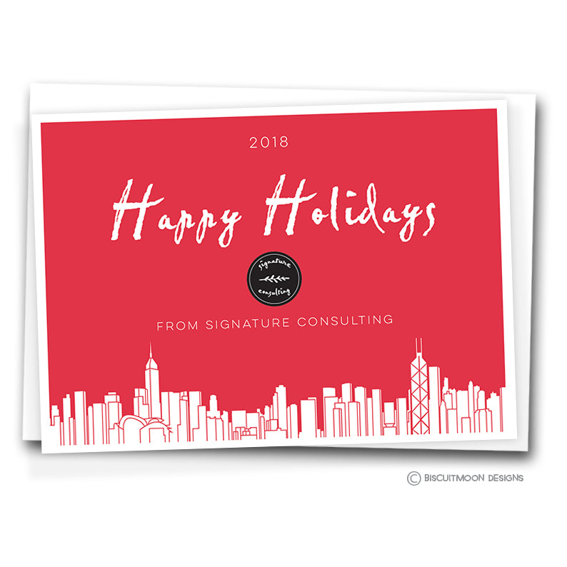 Corporate Christmas Cards.Happy Holidays Hong Kong Skyline Corporate Christmas Cards