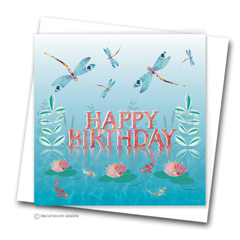 Dragonfly Pond Happy Birthday Card
