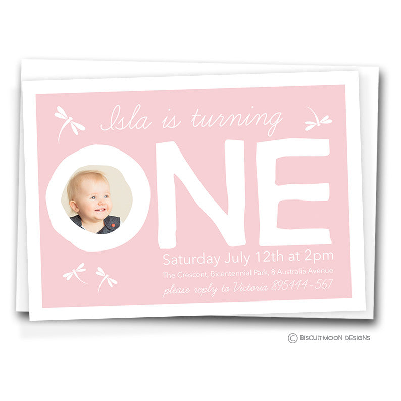 One Dragonflies Birthday Invitation Cards