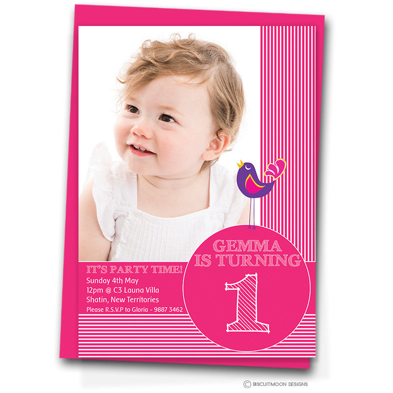 Pink Stripes Birthday Invitation Cards